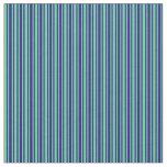 [ Thumbnail: Midnight Blue & Aquamarine Lined/Striped Pattern Fabric ]