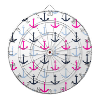 Midnight Blue, Baby Blue, Hot Pink Nautical Anchor Dartboard With Darts