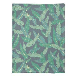 Midnight Blue Banana Leaf Twin Duvet Cover