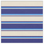 [ Thumbnail: Midnight Blue, Beige, and Blue Lined Pattern Fabric ]