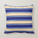 [ Thumbnail: Midnight Blue, Beige, and Blue Lined Pattern Throw Pillow ]