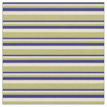 [ Thumbnail: Midnight Blue, Beige, and Dark Khaki Stripes Fabric ]