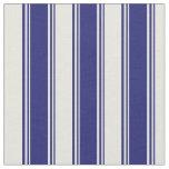 [ Thumbnail: Midnight Blue & Beige Pattern Fabric ]