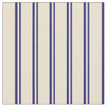 [ Thumbnail: Midnight Blue & Beige Stripes Fabric ]
