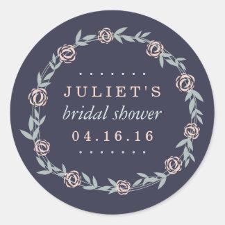 Midnight Blue, Blush and Sage Bridal Shower Favor Classic Round Sticker