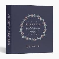 Midnight Blue, Blush and Sage Bridal Shower Recipe Binder