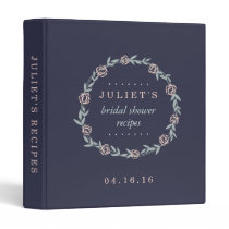 Midnight Blue, Blush and Sage Bridal Shower Recipe Binder