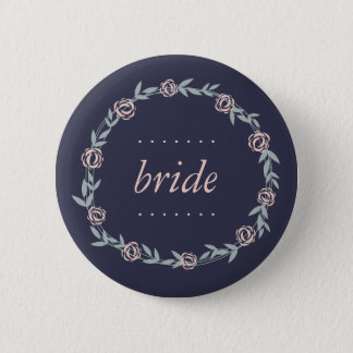 Midnight Blue, Blush Pink and Sage Bride Button
