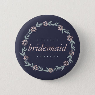 Midnight Blue, Blush Pink and Sage Bridesmaid Button