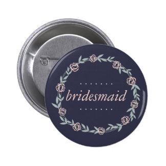 Midnight Blue, Blush Pink and Sage Bridesmaid Button