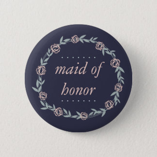 Midnight Blue, Blush Pink and Sage Maid of Honor Pinback Button