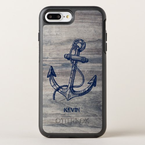 Midnight Blue Boat Anchor On Gray Wood Texture Phone Case