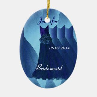 MIDNIGHT BLUE Bridesmaid Thank You Wedding Ceramic Ornament