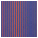 [ Thumbnail: Midnight Blue & Brown Colored Lined Pattern Fabric ]