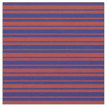 [ Thumbnail: Midnight Blue & Brown Colored Stripes Pattern Fabric ]