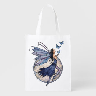 Midnight Blue Butterfly and Fairy Fantasy Art Market Totes