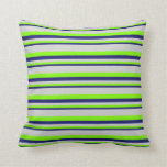 [ Thumbnail: Midnight Blue, Chartreuse & Light Grey Colored Throw Pillow ]
