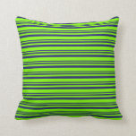 [ Thumbnail: Midnight Blue & Chartreuse Lined/Striped Pattern Throw Pillow ]