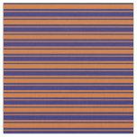 [ Thumbnail: Midnight Blue & Chocolate Stripes Pattern Fabric ]