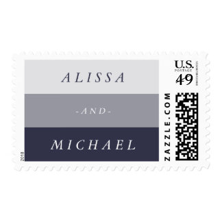 Midnight Blue Colorblock Wedding & Engagement Postage Stamp