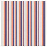 [ Thumbnail: Midnight Blue, Coral & Light Yellow Pattern Fabric ]
