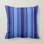 [ Thumbnail: Midnight Blue & Cornflower Blue Pattern Pillow ]