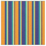 [ Thumbnail: Midnight Blue, Dark Orange, Green, and Dark Cyan Fabric ]