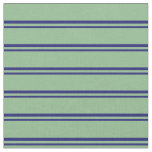 [ Thumbnail: Midnight Blue & Dark Sea Green Pattern of Stripes Fabric ]