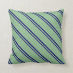 [ Thumbnail: Midnight Blue & Dark Sea Green Pattern of Stripes Throw Pillow ]