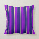 [ Thumbnail: Midnight Blue, Dark Violet & Tan Pattern Pillow ]