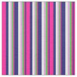 [ Thumbnail: Midnight Blue, Deep Pink, Green, Plum & Mint Cream Fabric ]