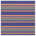 [ Thumbnail: Midnight Blue, Dim Gray, and Coral Stripes Fabric ]