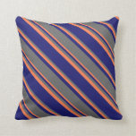 [ Thumbnail: Midnight Blue, Dim Gray, and Coral Stripes Pillow ]