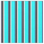 [ Thumbnail: Midnight Blue, Dim Grey, Black, Lavender & Cyan Fabric ]