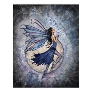 Midnight Blue Fairy Poster by Molly Harrison