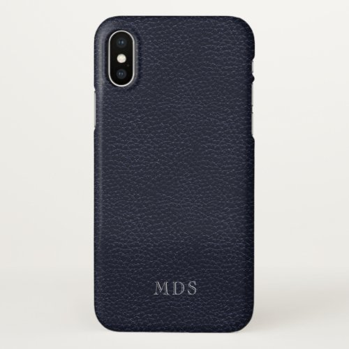 Midnight Blue Faux Leather Professional Monogram Phone Case