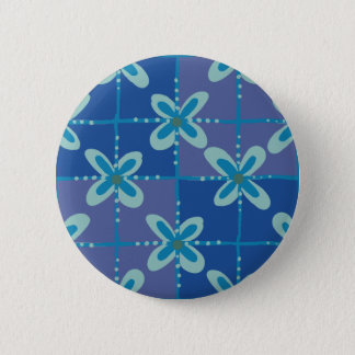Midnight blue floral batik seamless pattern pinback button