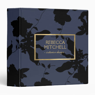 Midnight Blue Floral Pattern Personalized Binder