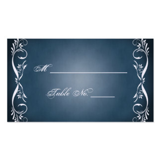 Midnight Blue Floral Posh Wedding Place Cards Business Card