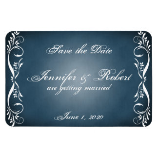 Midnight Blue Floral Posh Wedding Save the Date Magnet