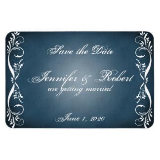 Midnight Blue Floral Posh Wedding Save the Date Rectangular Photo Magnet