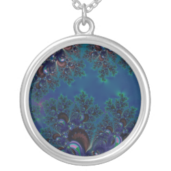 Midnight Blue Frost Crystals Fractal Jewelry