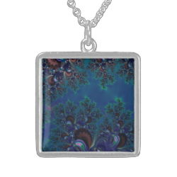Midnight Blue Frost Crystals Fractal Pendants