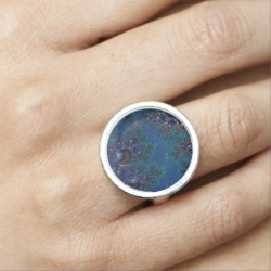 Midnight Blue Frost Crystals Fractal Ring