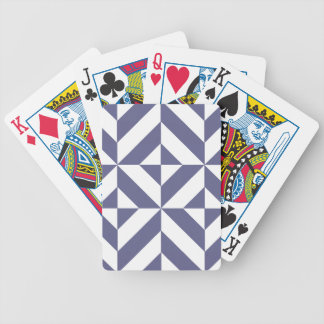 Midnight Blue Geometric Deco Cube Pattern Bicycle Playing Cards
