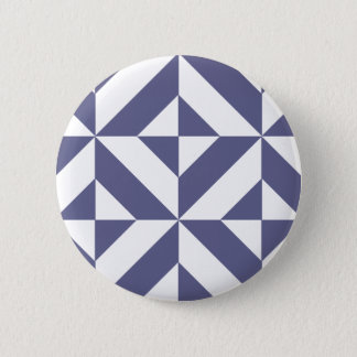 Midnight Blue Geometric Deco Cube Pattern Button