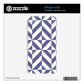Midnight Blue Geometric Deco Cube Pattern iPhone 4S Skin
