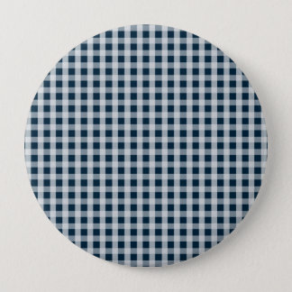 Midnight Blue Gingham Check Pattern Button