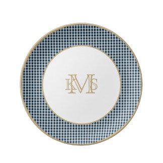 Midnight Blue Gingham Check Pattern Dinner Plate