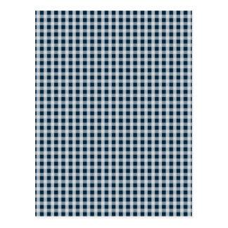 Midnight Blue Gingham Check Pattern Postcard